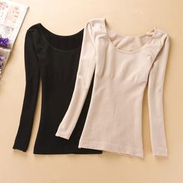 保暖大领棉毛衫修身毛圈绒美体肉色紧身上衣打底内衣女厚秋衣单件