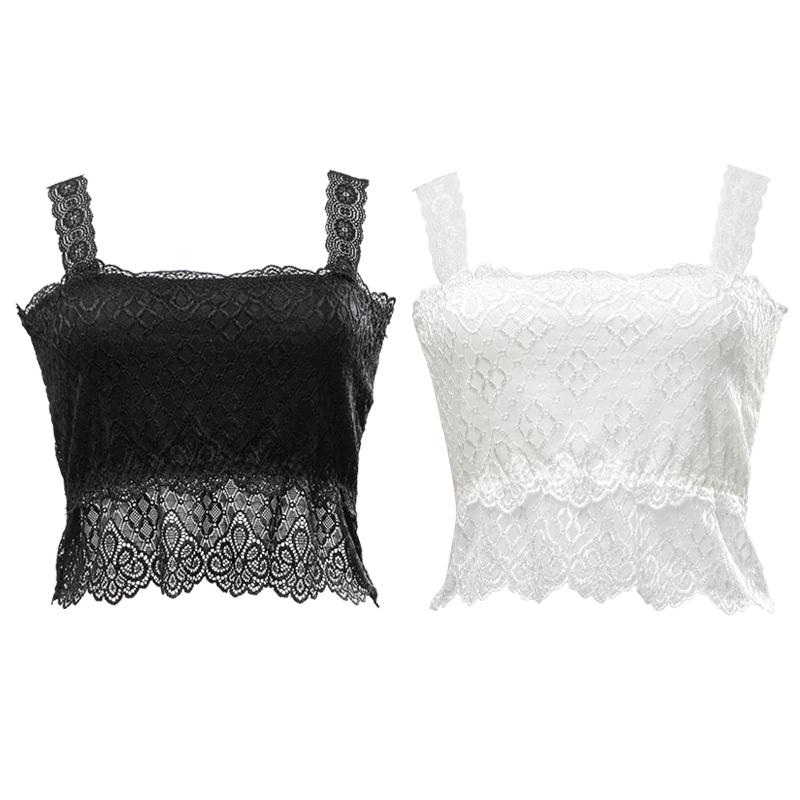 2件装/莫代尔防走光抹胸内衣文胸蕾丝打底衫吊带裹胸少女夏季围胸