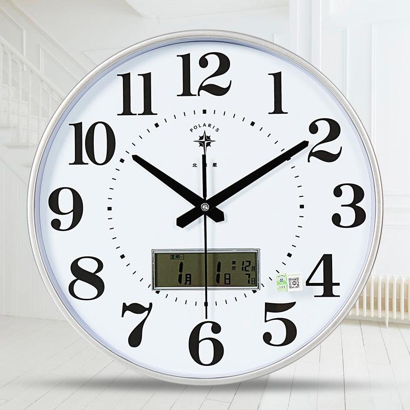 北极星挂钟客厅静音钟表办公室简约日历时钟现代时尚挂表石英钟表