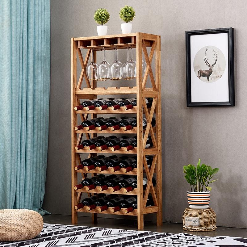 落地实木红酒架葡萄酒橡木酒柜木质展示架悬挂酒杯家用酒格置物架