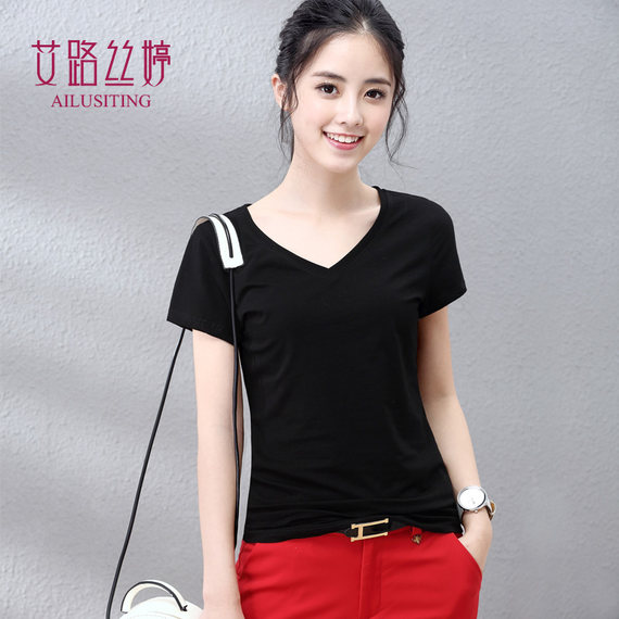 Ai Lusi Ting 2019 Summer Women 's White Half Sleeve T-Shirt 단색 V 넥 Slim Short Sleeve Black T-Shirt Women 's Top