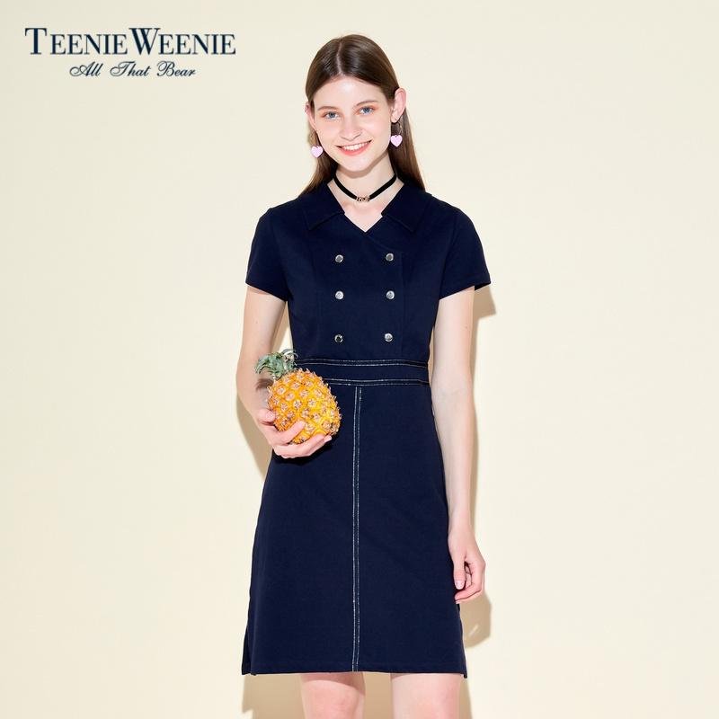 Teenie Weenie小熊夏女时尚双排扣收腰V领连衣裙TTOM72690Q