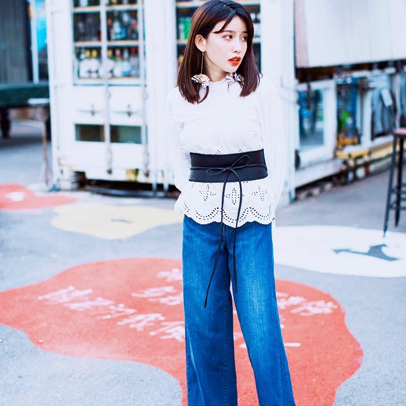 定制秋冬日系优衣库同款好质感弹力高腰阔腿牛仔裤长裤女包臀显瘦
