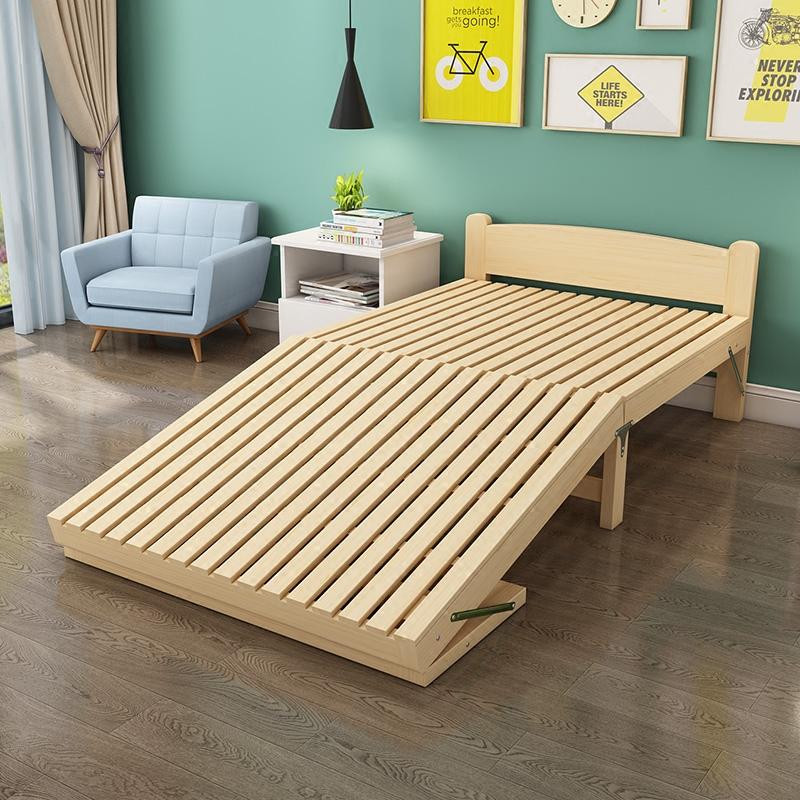 折叠床单人床 家用** 小户型儿童实木简易床双人1.5米出租房床