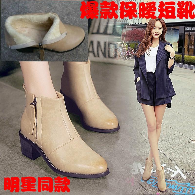 2016新款漆皮橡胶短筒黑色纯色女中跟女粗跟加绒复古侧拉链靴圆头