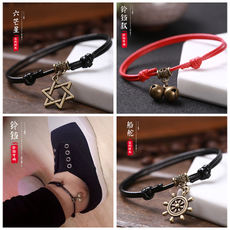 Anklet female bells couple retro handmade natal year red rope weaving male foot chain ladies students girlfriends feet jewelry