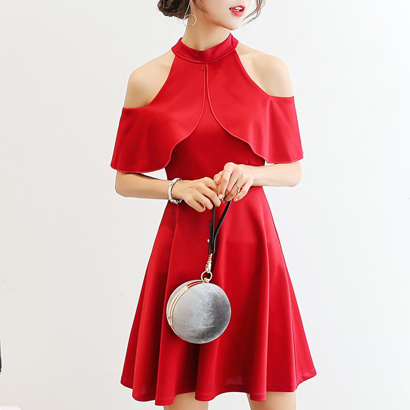 彩黛妃2017夏季新款女装修身韩版袖显瘦纯色大码时尚休闲连衣裙女