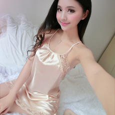Sexy sling nightdress female summer sexy ice silk hot adult pajamas large size nightdress backless home service skirt