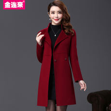 Jin Lianlai autumn and winter clothing double-sided coat long-sleeved fashion long-sleeved Slim thin anti-sea wool coat female