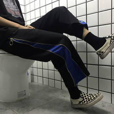 2018 summer new Harajuku style stitching side zipper loose casual pants wild nine pants men and women pants tide