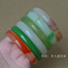 Factory direct glass bracelet women's green bracelet imitation jade bracelet ten Yuan Jianghu supply flat jade bracelet