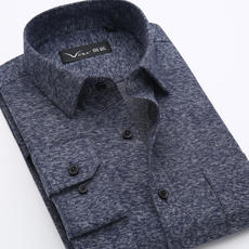 High quality spring and autumn new cotton sanding middle-aged flannel shirt men's long-sleeved shirt daddy clothes inch clothes
