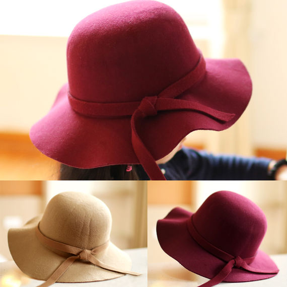 Girl Princess hat woolen new style children's hat autumn and winter models baby hat fisherman hat Korean version of the tide