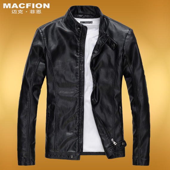 Autumn men's leather Korean version of the collar collar thin PU leather jacket Slim European and American leisure motorcycle men's jacket men's tide