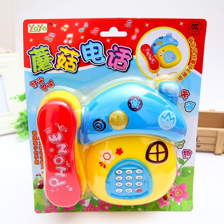 儿童玩具电话机 蘑菇智能早教音乐玩具带灯 卡通益智宝宝玩具批发