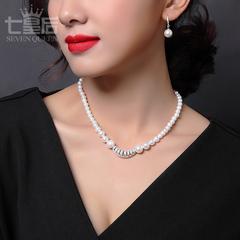 925纯银仿珍珠项链长款链子首饰女送妈妈款锁骨链母亲节礼物刻字