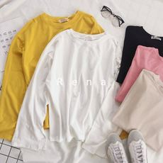 RENA early spring new owner retains the basic models of pure color loose cuffs split bottom long-sleeved T-shirt female 5 colors