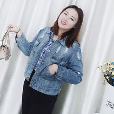 Large size women's fat mm spring 2018 new 200 kg plus fertilizer to increase loose short section of the hole denim jacket
