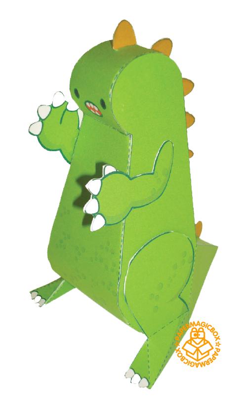 纸模盒子の卡通/动物_纸盒世界-小恐龙山姆_纸模型