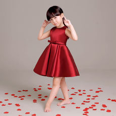 New children's dress girls princess dress female flower girl wedding dress short wine red pettiskirt dress autumn