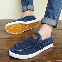 夏季一脚蹬懒人鞋透气帆布鞋青年老北京布鞋男士单鞋休闲鞋子板鞋