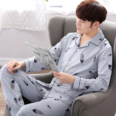 Pajamas men's long-sleeved cotton summer middle-aged spring and autumn and winter men's pajamas cotton-style thin section casual home service suit
