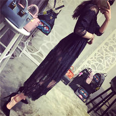 2017 spring and summer new Korean version of the fairy Slim sexy sun sleeves elastic waist lace dress long skirt female