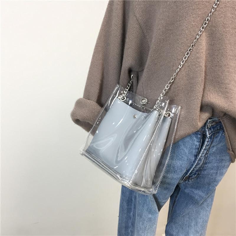 包包女2018夏季新款透明水桶包女包chic链条包时尚休闲单肩斜挎包