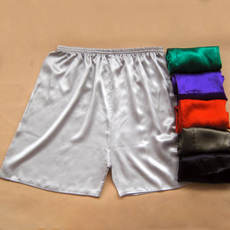 Who wears who is comfortable 100% silk silk casual shorts silk beach pants men and women home large size shorts