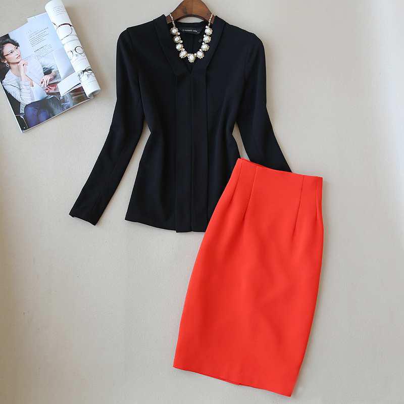 春秋女装新款V领宽松上衣高腰显瘦包臀裙套装职业西装裙装两件套