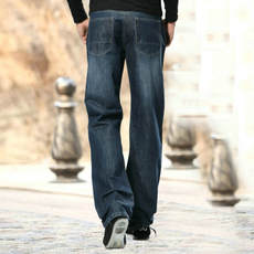 Autumn and winter new loose straight casual jeans men plus fat large size pants thick legs plus long wide feet trousers