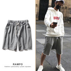 Summer new Japanese retro men's solid color terry shorts sports casual hip-hop men's five-point pants pants