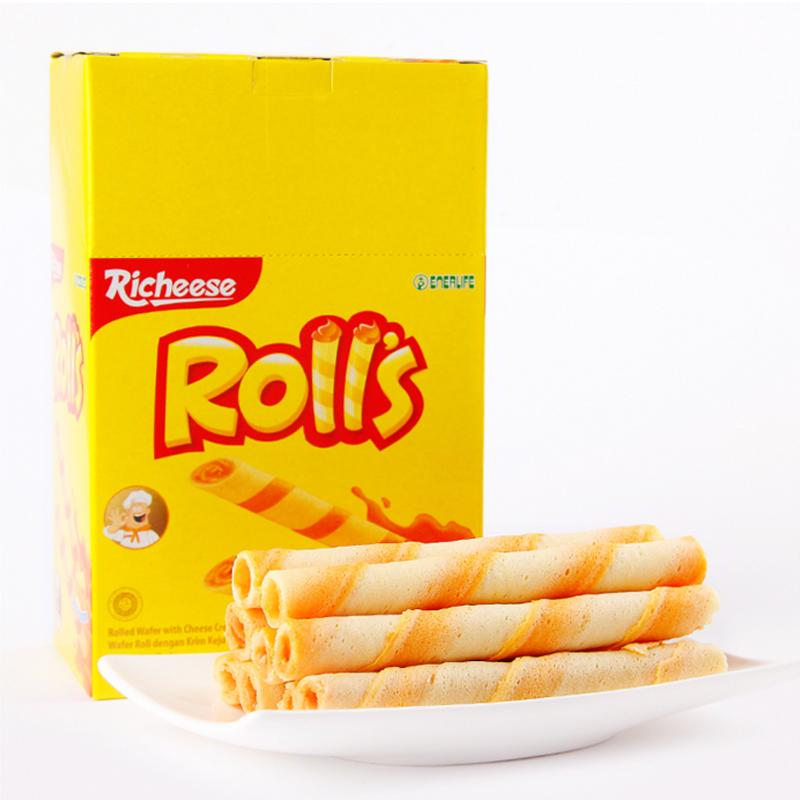 印尼纳宝帝进口蛋卷饼干 丽芝士richeese芝心棒奶酪夹心卷酥180g