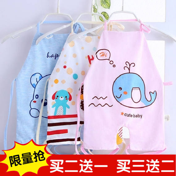Baby double-layer cotton designer belly apron newborn baby color cotton anti-playing apron children's large version of the apron four seasons