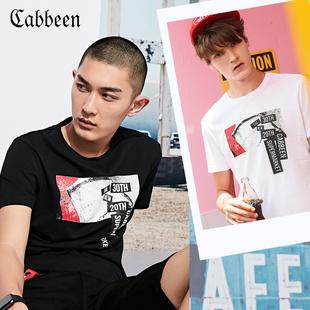 卡宾短袖T恤男装夏季黑色半袖纯棉印花修身圆领白色潮牌