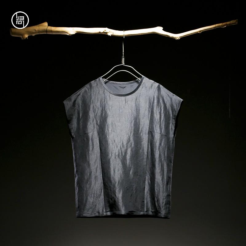 归心t恤男短袖夏季设计师原创中国风男装丝麻丝棉双层男士T恤圆领