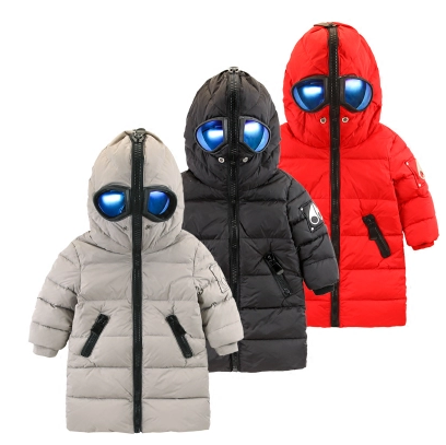 Children's down jacket baby hooded glasses long coat 2016 children's clothing tide children's boy white duck down jacket