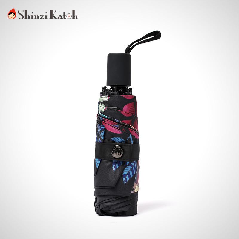 超轻五折伞太阳伞超强防晒防紫外线迷你口袋小黑伞折叠遮阳伞黑胶