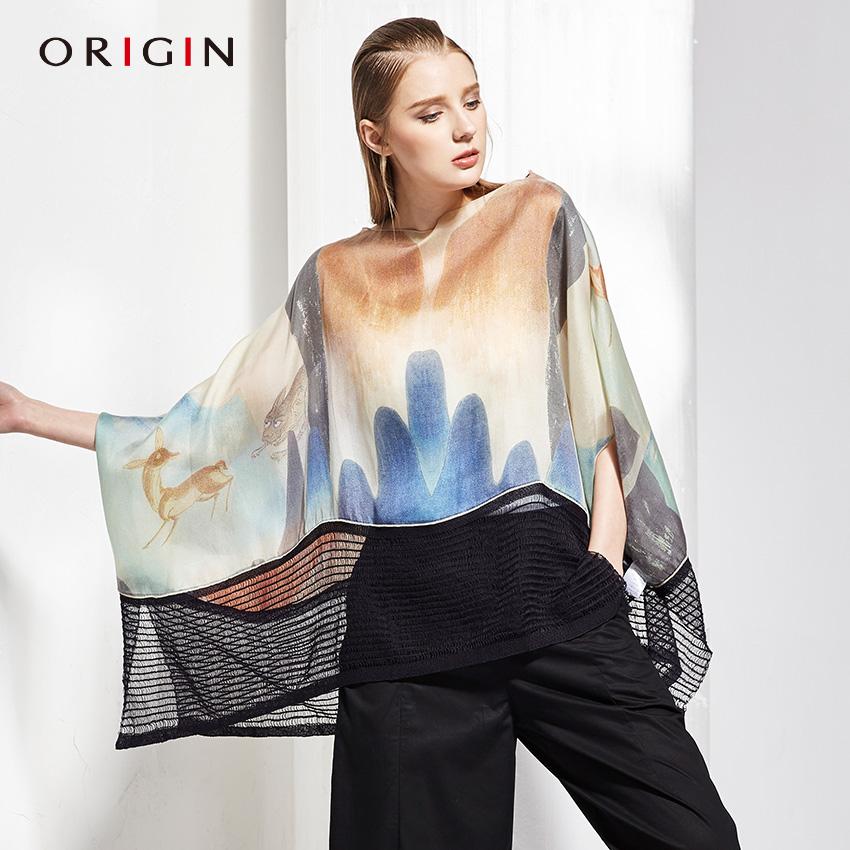 安瑞井女装2017夏季新品蝙蝠型上衣原创敦煌印花斗篷型真丝衬衣