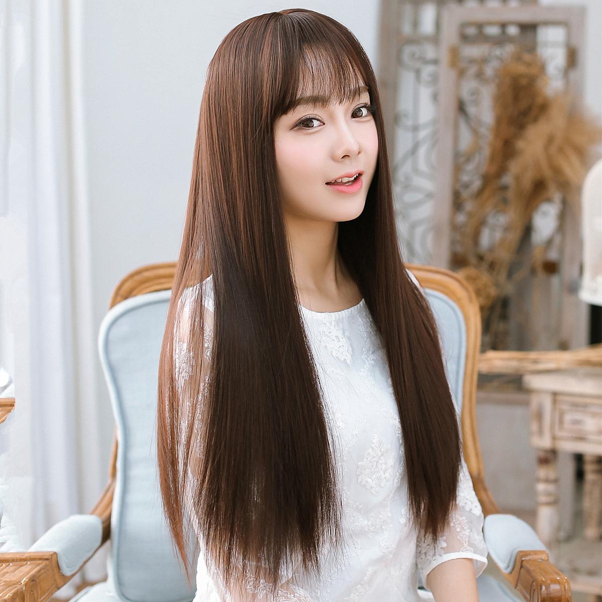 空气刘海 长直发假发 女 自然逼真人长直发 韩国清新薄刘海发型图片