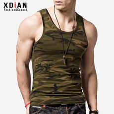 Renewal camouflage vest men's summer cotton youth breathable fitness tight-fitting sports sweating uniform training trend