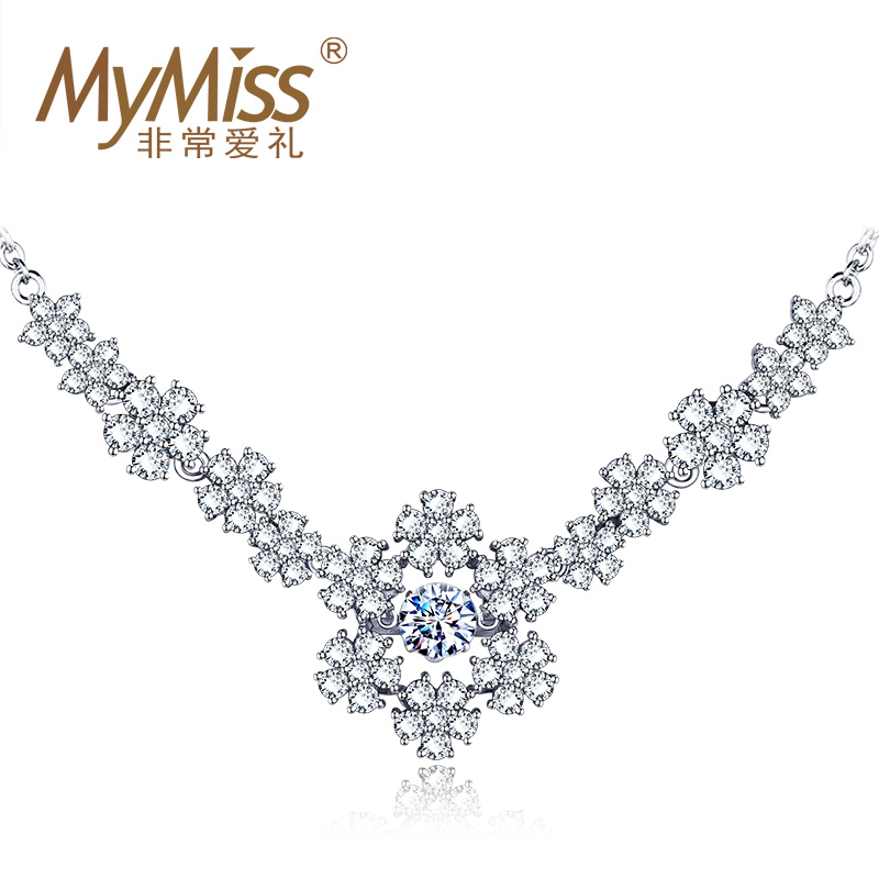 Mymiss花的嫁衣 婚庆套装系列 新娘项链 镶嵌施华洛世奇人工锆石
