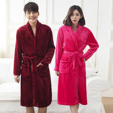 Autumn and winter flannel lovers nightgown men's and women's bathrobes coral fleece thick large long pajamas home service bath