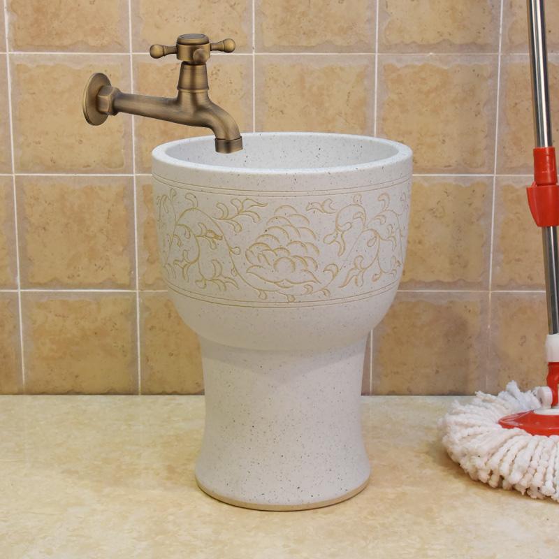 景德镇陶瓷 拖把池 拖把桶 下水池 污水池30公分磨砂缠枝莲