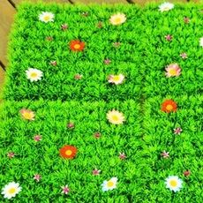 Simulation lawn with flower encryption four head grass Milan artificial turf carpet plant background wall decoration hotel