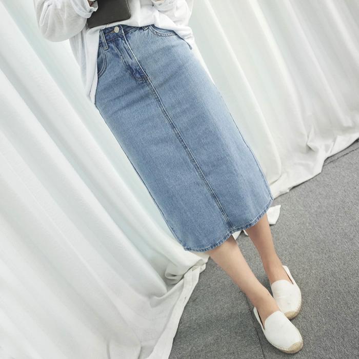 2017女春夏高腰中长款牛仔半身长裙开叉包臀一步裙修身显瘦牛仔裙