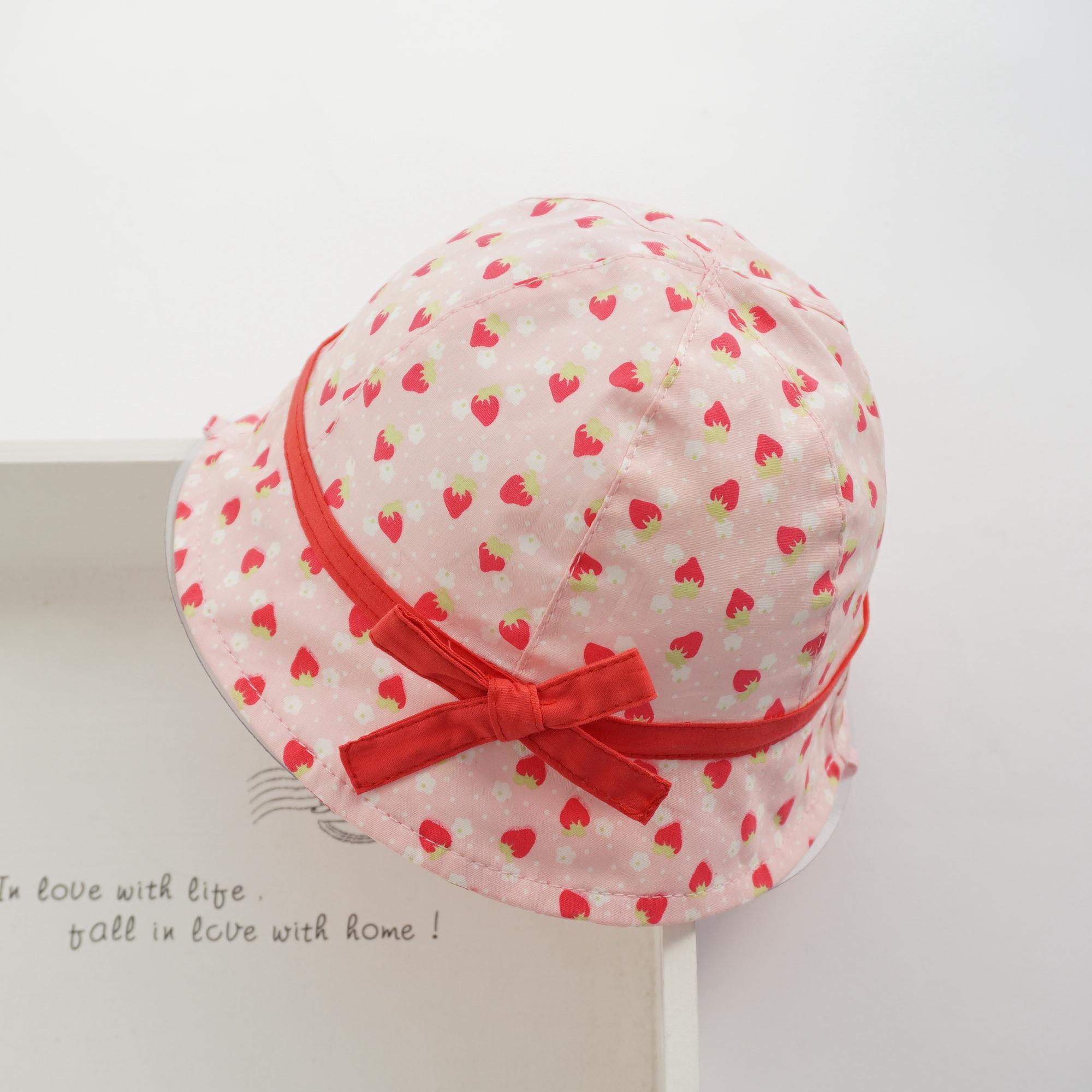春夏秋女宝宝婴儿全纯棉盆帽子儿童小童盆帽渔夫遮太阳帽草莓樱桃