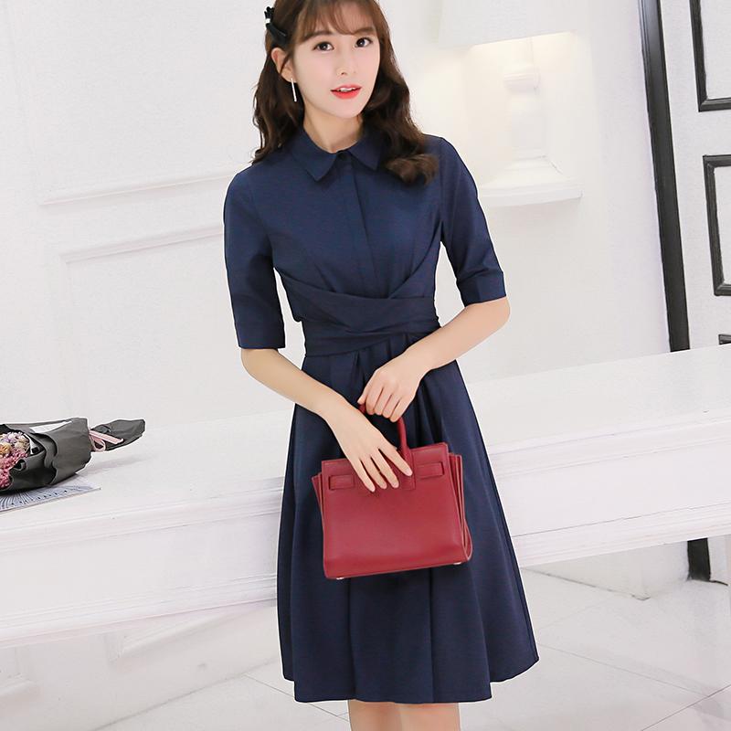 彩黛妃2017春夏新款女装修身纯色韩版百搭拼接时尚中袖显瘦连衣裙