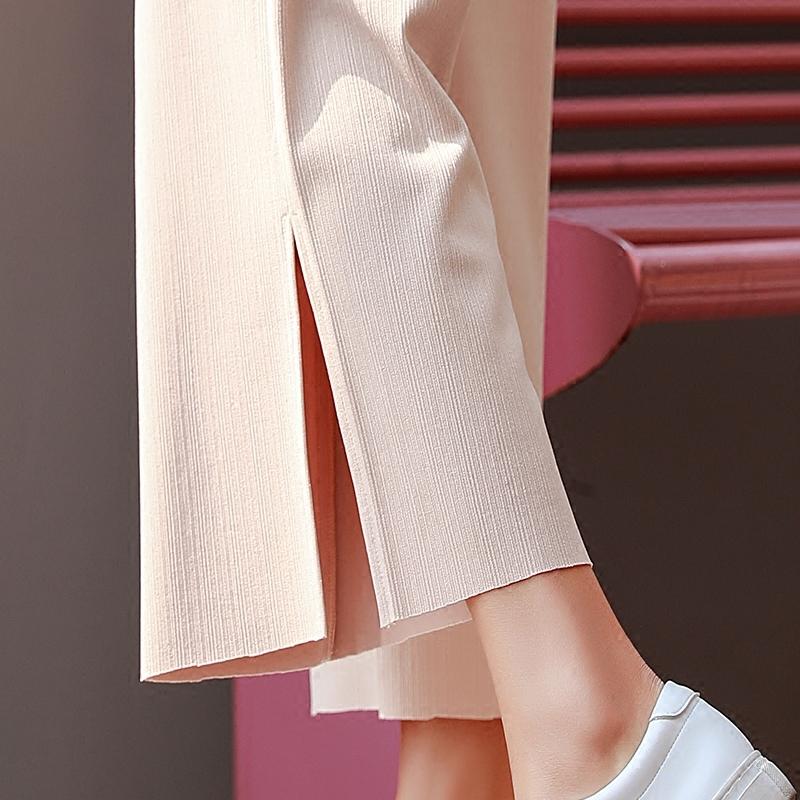 高腰春季雪纺chic阔腿裤女夏季宽松韩版垂感开叉九分直筒薄款裤子