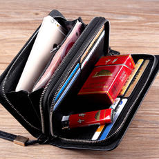 Men's Bags Business Men's Hand Bags Clutch Bags Large Capacity Clutch Bags Multi-function Double Zipper Long Wallet Phone Bags
